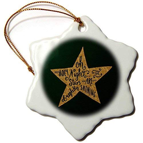nd Gold Christmas Star Ornament and Saying-Oh Holy Night Christmas Ornaments Novelty Ceramic Star Christmas Tree Ornaments Decorations Xmas Gifts ()