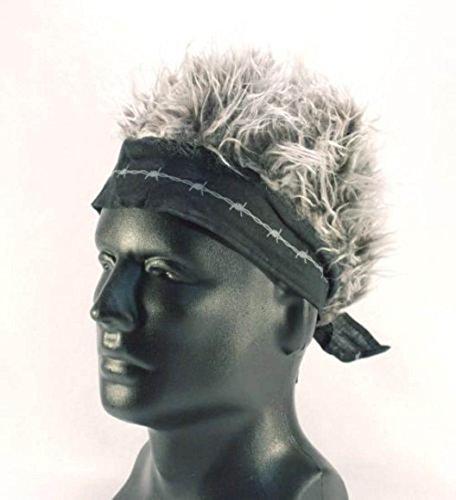 (Brand New Novelty Billy Bob Bandana with Crazy Spiked Grey Hair)