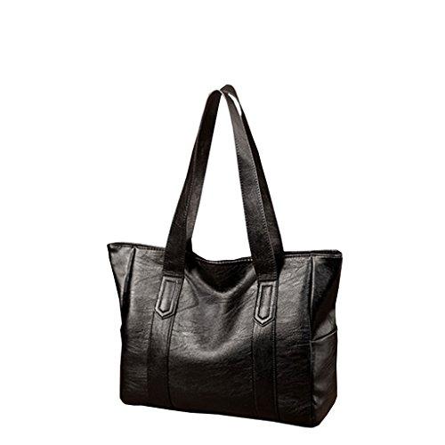 PU de Bolso Tote cremallera Messenger Bag Black portátil Color Simple de Black Bag con hombro hombro de la Bolso tXwgYqv
