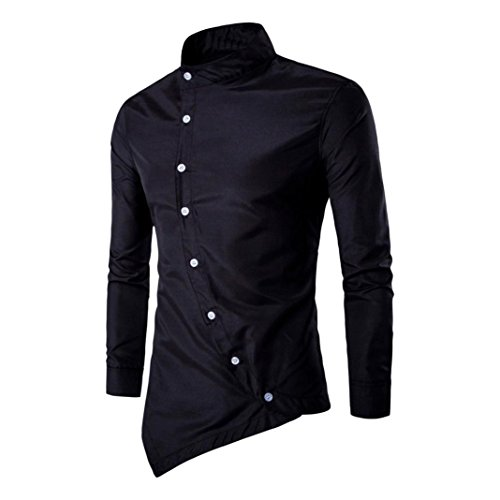 Silm Casual Manga dragon868 Polo Hombres Larga Irregular De Negro Camisas Blusa Camisa Hombres wUqYIpxg