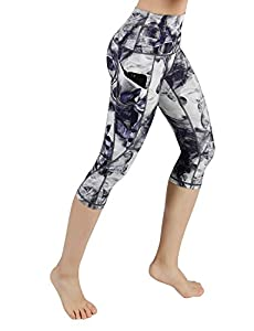 ODODOS High Waist Out Pocket Printed Yoga Pants Tummy Control Workout Running 4 Way Stretch Yoga Leggings,Crosstalk, Large