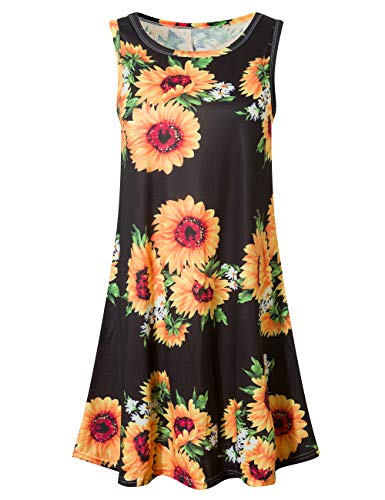 Plus Summer Dresses for Women Party Dresses Tank Top Sunflowers XL