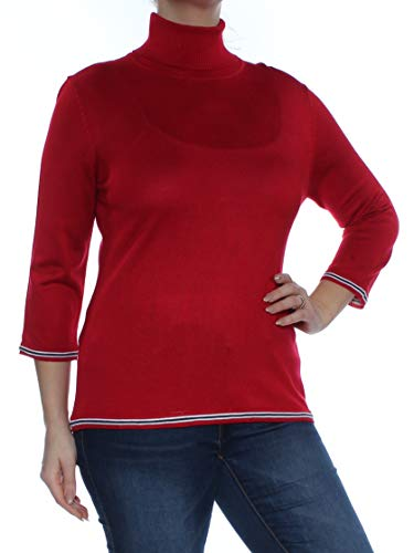 Tommy Hilfiger Womens Knit 3/4 Sleeves Pullover Sweater Red L (Tommy Hilfiger Sweater Red Women)