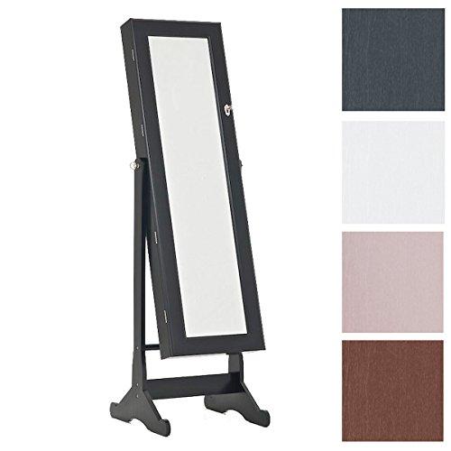 CLP neigbarer Schmuckschrank AVA mit Spiegel - aus bis zu 4 Farben wählen - mit Haken für Ketten & Steckplätze für Ringe sowie Ohrringe schwarz