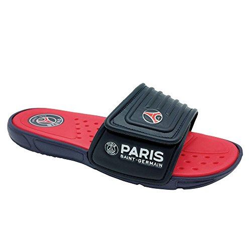 (FUNKYMONKEY Men's Slide Sandals Adjustable Slip on Slipper (10 M US, Red/Blue))