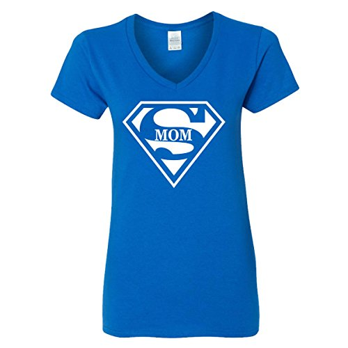 Super Mom V-Neck T-Shirt Womens Supergirl Superman Superwoman Movie Girl Mother (Royal -