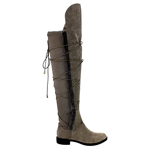 ATHENA EE55 Womens Over Knee High Lace Wrap Side Zipper Riding Boots Grey gL9WkkSilc