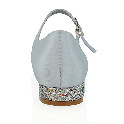 Bridal Pumps Silver Essex Women's Heel Satin Low Glitter Satin Glam Heel A1Uqwg0