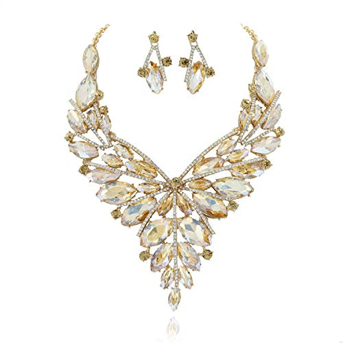 Austrian Crystal Collar - SP Sophia Collection Elegant Gala Drop Large Collar Austrian Crystal Jewelry Necklace and Earrings Set in Golden Bronze