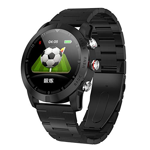 - YiMiky Smart Watch 1.3inch IP68 Waterproof Bluetooth 4.2 Smartwatch, Advanced Unique Design Style Smart Watch Heart Rate Monitoring Compass Fitness Tracker Sport Watch for Android iOS -Black 3