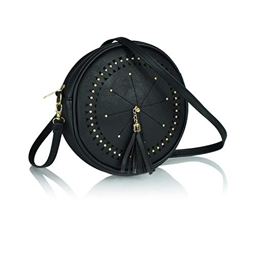 Bohemian Round Laser Cut Vegan Leather Perforated Crossbody Circle Bag with Large Tassel (Classic Black with Gold Toned Accents)