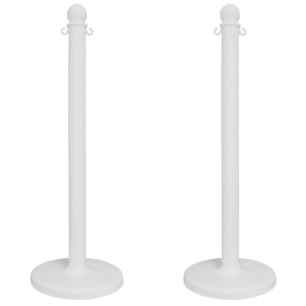 Mr. Chain 96401-2 2.5'' White Stanchion, 40'' Overall Height (Pack of 2)