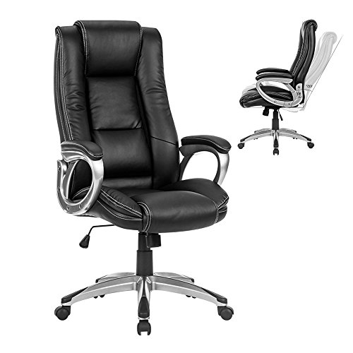 LANGRIA High-Back Executive Office Chair Black Faux Leather Computer Chair, Modern and Ergonomic Design, Well-Padded Armrests, Adjustable Seat Height, Knee Tilt Mechanism, 360 Degree Swivel, LROC-7263 Review