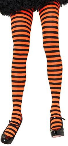 (ToBeInStyle Women's Nylon Horizontal Striped Tights - Black/Orange - One)