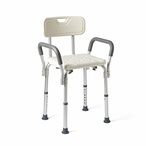 Medline Shower Chair Bath Seat with Padded Armrests and Back, Great for Bathtubs, Supports up to 350 lbs