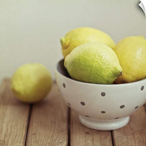 - Wall Peel Wall Art Print Entitled Lemons in Bowl on Table. 12