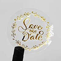 100 x Save the Date Metal Labels Real Gold Foil Embossed Transparent Stickers Shower Party Invitation Stickers Round Self Adhesive Vinyl Labels 1.6 inch