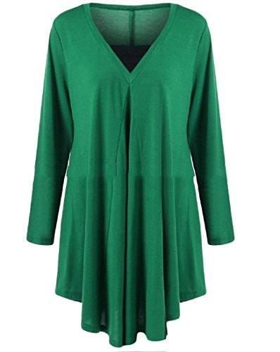 Irregolare donne Del Più Che Del Verde V Puro Metà Colore Lunghezza Il Collo Coolred Partito Formato Vestito TTwxrP6