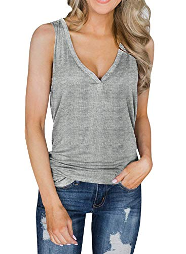 Lateemore Womens Deep V Neck Sleeveless Henley Shirts Button Up Knit Tunic Tank Top Blouse