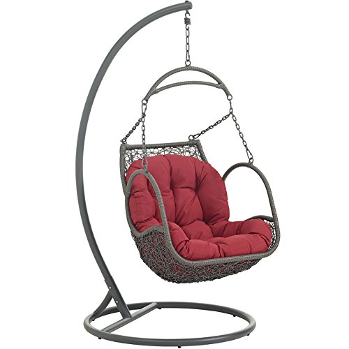 Arbor Swing Set - Modway Arbor Outdoor Patio Wood Swing Chair, Red