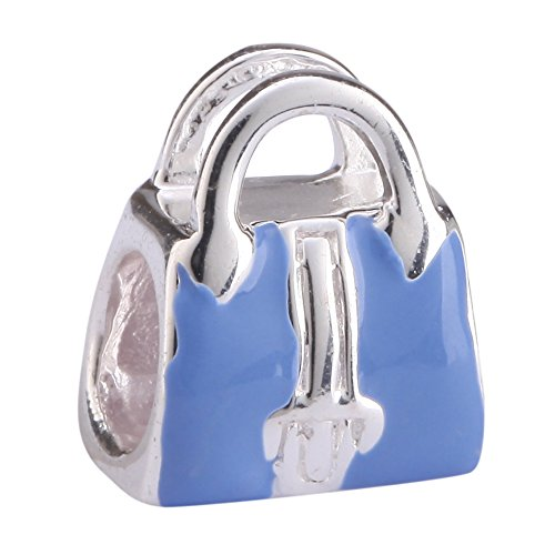 Cute Sterling Silver Blue Purse Charm Bead for European Charm Bracelets #EC61