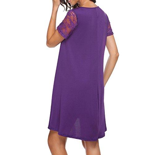 Manche En Dentelle Des Femmes Burlady Occasionnels Lâche Robe T-shirt Haut Bas Swing Violet