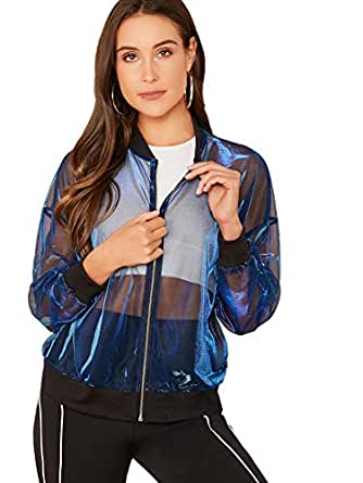 SweatyRocks Women's Casual Zip Up Light Weight Long Sleeve Mesh Bomber Jacket Blue XS