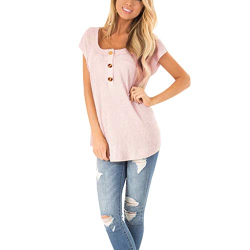 RIUDA Womens Shirts Casual Tee Shirts Short Sleeve Patchwork Color Block Loose Fits Tank Tops Pink