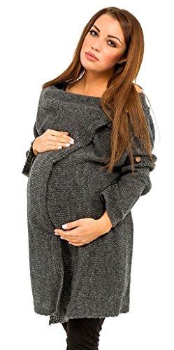 [Happy Mama Womens Maternity Waterfall Cardigan Blazer Knit Coat Long Wrap 411p (Graphite, ONE SIZE US 4/6/8)] (Maternity Sweater Coat)