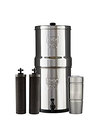 Berkey Water Filter System with 2 Black Purifier Filters (1.5 - 6 Gallons) Bundled with 1 Boroux Double Walled 20 oz Stainless Steel Tumbler Cup. A powerful, simple, and cost-efficient water filter