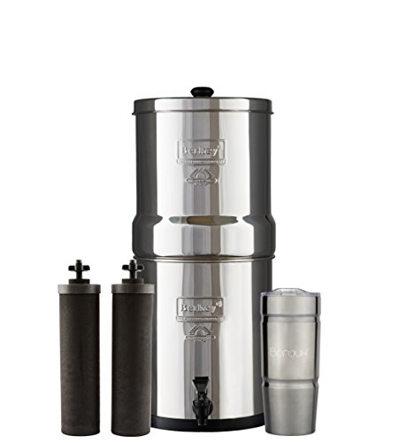 Berkey Gravity Water (BIG Berkey Water Filter System with 2 Black Purifier Filters (2 Gallons) Bundled with 1 Boroux Double Walled 20 oz Stainless Steel Tumbler Cup)