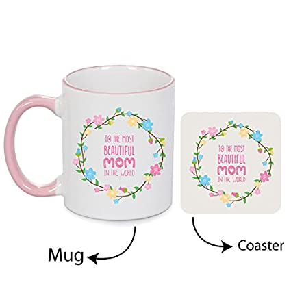 Giftsmate Ceramic 330ml Mug And Canvas Coaster Birthday Gifts For Mother 4x4inchWhite