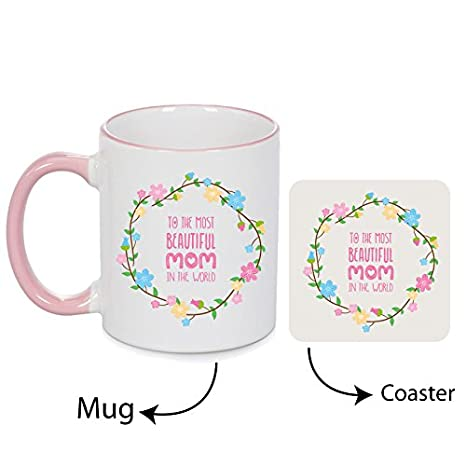 Buy Giftsmate Ceramic 330ml Mug And Canvas Coaster Birthday Gifts For Mother 4x4inchWhite Online At Low Prices In India
