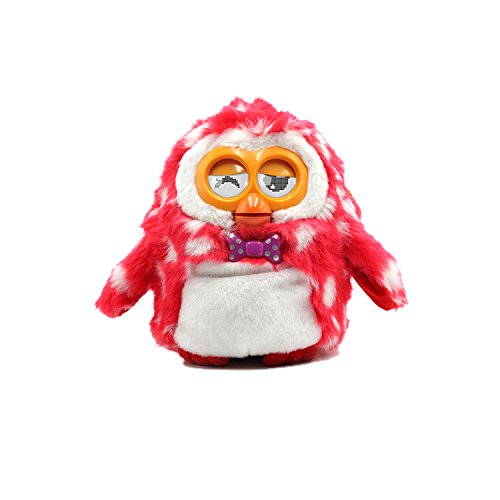 Jcotton Plush Interactive Talking Owl Toy furby boom Plush Animal Pet,Electronic,Interactive Conversation Smart Toy,Red Pot and White