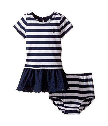 - Ralph Lauren Baby Girls Striped Eyelet Dress & Bloomer Set (6 Months, Navy/white)