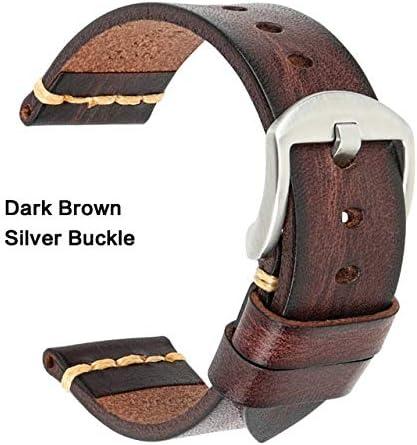 TGBZ ユニバーサル時計手作り時計バンド20ミリメートル21ミリメートル22ミリメートル23ミリメートル24ミリメートルレザー腕時計バンド (Band Color : DarkBrown Silver, Band Width : 26mm)