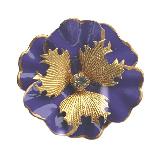 Small Purple and Gold Tone Brooch Enamel Flower Pansy Pin
