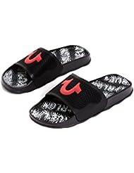 True Religion Mens Horseshoe Slide Sandals in Black