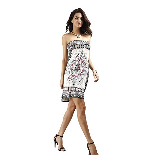 Women's Off The Shoulder Strapless Floral Mini Dress Bohemian Print Swing Summer Sundress(White,L)