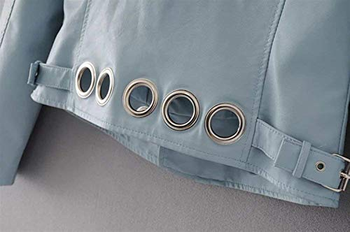 Giubotto Qualità Moda In Classiche Di Cerniera Monocromo Manica Pelle Donne Alta Lunga Blau Metallo Invernali Donna Elegante Similpelle Autunno Giacche Tasche Con Giacca Fibbia IX1Rqwq