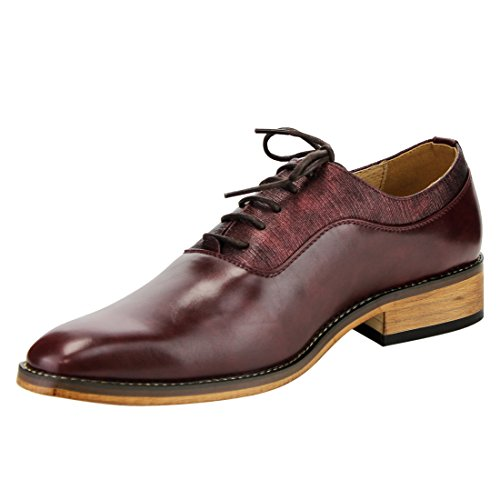 Miko Lotti Fg01 Mens Lace Up Plain Toe Oxford Abito Formale Scarpe Vino