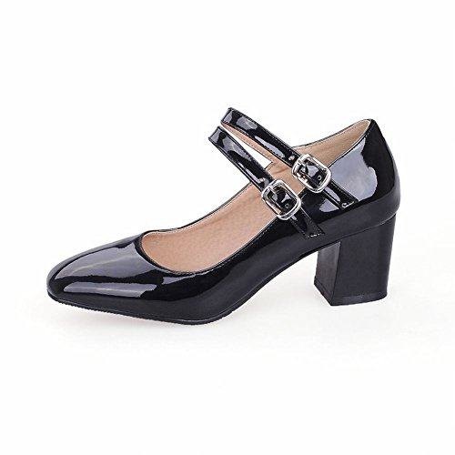 Shoes Buckles Solid Charm Toe Mid Color Black Square Court Women's Carolbar Heel RUwavZwq