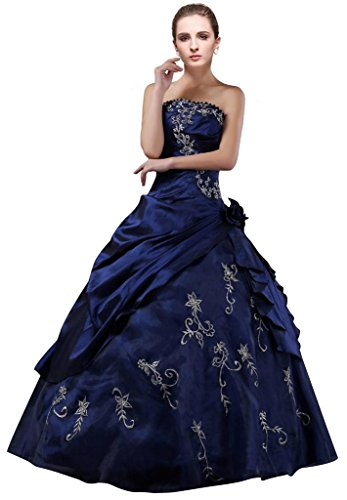 DLFASHION Strapless A-line Embroidered Taffeta Prom Dress XL-18 Blue