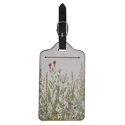 (Pinbeam Luggage Tag Floral Border Herbs and Wild Flowers Botanical Engraving Suitcase Baggage Label)