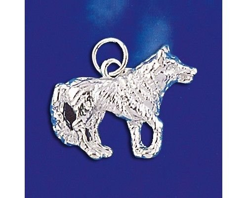 Sterling Silver Grey Wolf Pendant Majestic Dog Charm Solid 925 Silver New - Silver Jewelry Accessories Key Chain Bracelet Necklace Pendants