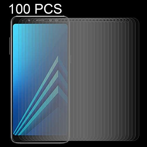HUFAN 100 PCS for Galaxy A8+ 2018 0.26mm 9H Surface Hardness 2.5D Curved Edge Tempered Glass Screen Protector Phone Glass Film