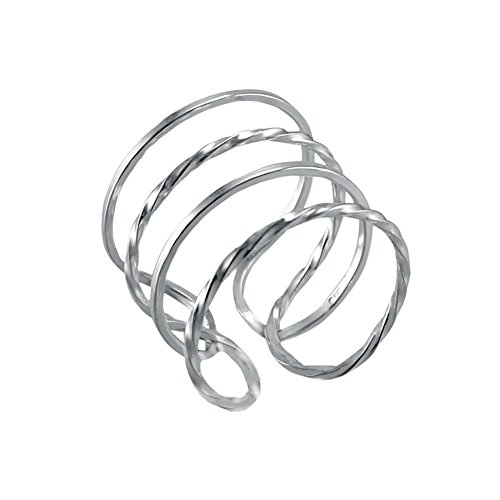 Sterling Silver Twisted Tube (Sterling Silver Square and Twisted Tube Adjustable Size Ring with Ring Length of 15MM)