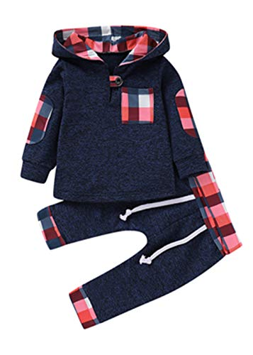 Infant Toddler Boys Girls Sweatshirt Set Winter Fall Clothes Outfit 0-3 Years Old,Baby Plaid Hooded Tops Pants (Blue, 12-18 Months)