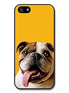 AMAF ? Accessories Funny English Bulldog With Big Tongue case for iPhone 5 5S