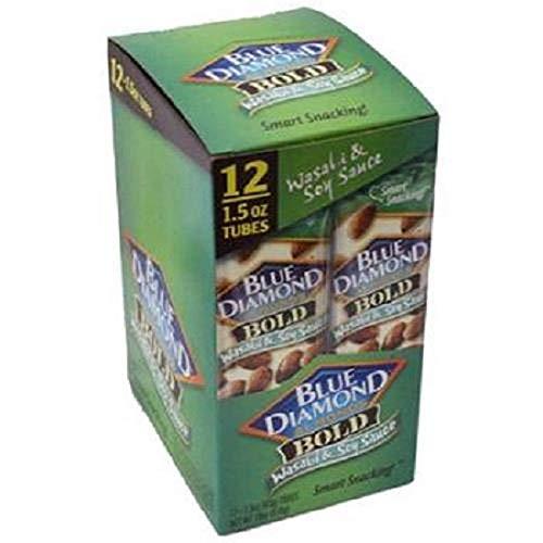 (Blue Diamond Bold Almonds, Wasabi & Soy Sauce, 1.5 oz tubes 12)